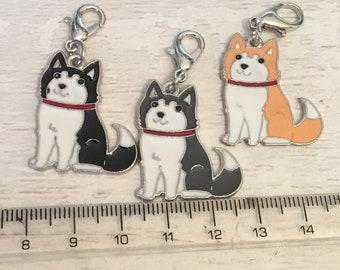 Husky charm, Malamute charm add on, zip pull, stitch marker, husky gift, malamute gift, dog charms