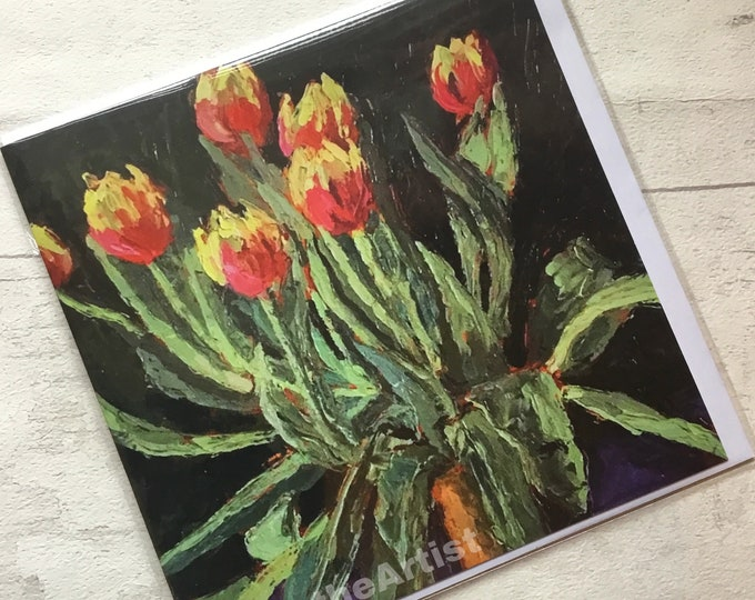 Tulips, artist card, marktheartist, still life, for her, for him, Mother's Day, Spring flowers,Norfolk artist