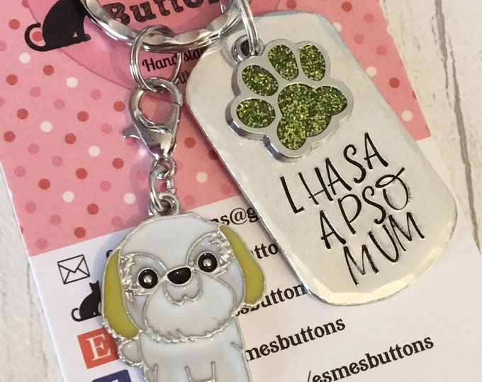 Lhasa Apso dog Keyring, Lhasa Apso dad gift, Fathers day gift, Mother's Day gift, Hand Stamped, Key Ring, dog lover gift, for him, for her
