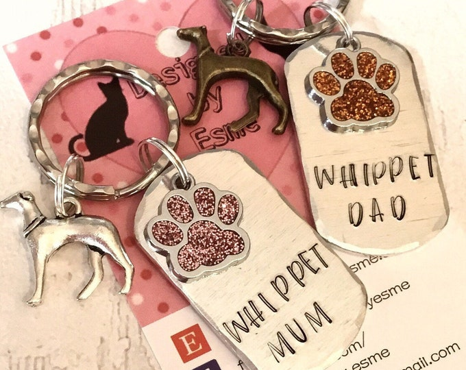 Whippet Dad dog keyring, whippet mum, Father's Day, Mothers Day,whippet keychain, hand Stamped, whippet gift, for him, for her