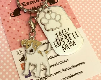 Jack Russell dog keyring, dog gift, Fathers day gift, dad keyring gift, Jack Russell Keychain, handstamped  keyring, dog gift,