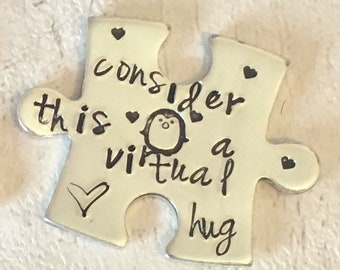 Virtual hug token, SOCIALLY DISTANCED HUG, lockdown, Hand Stamped, Lovers apart, penguin hug, hug me, separated couples,