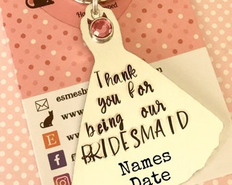 Bridesmaid favour gift, hen night favours, flower girl favour, wedding favour, hand stamped dress favour, gift for her, wedding gift,