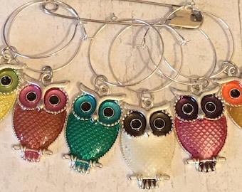 Owl wineglass charms, owl wine glass charms, owl gift, owl lover gift, gift for an owl lover