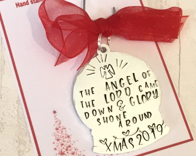 Snow Globe Christmas tree ornaments, personalised gift, handstamped Christmas tree decoration, Christmas home decor, gift for her, for him,