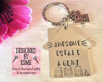 Real Estate agent gift, new home, house seller, sold my house, Hand stamped,buying a new house, conveyancing