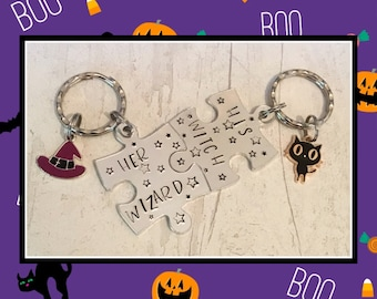 Halloween Couple keychains, his witch, her wizard, Puzzle pieces, witch and wizard gifts, uk seller, made in Norfolk, handstamped gift