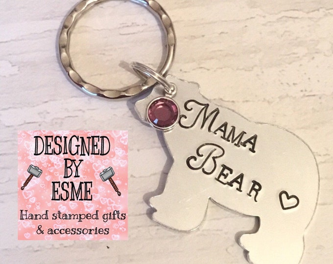 Featured listing image: Mama Bear keyring gift, Mama Bear, mothers day gift for Mummy, Hand Stamped gift, Gift for Mum, family gift