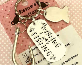Fishing keyring, wishing I was fishing, for Dad, for Grandad, handstamped keyring, , summer fun , for her, for him,