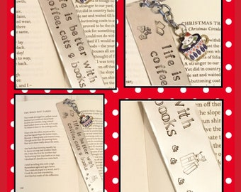 Life is better with coffee, cats & books, bookmark, Hand Stamped gift, book lover, cat lover, coffee lover, gift for a reader,