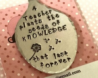 Hand Stamped teacher bookmark, Spoon Bookmark, gift for teacher, bookmark, spoonie bookmark, gift for her, for him