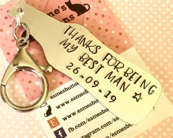 Best Man gift, awesome groomsmen, wedding favour, Stag Night favours, hand stamped beer bottle keychain, gift for him, wedding gift,