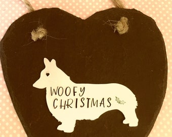 Dog Slate heart, Christmas gift, Dog personalised gift, handstamped dog, wall decor, home decor, wall hanging, gift for her, for him,