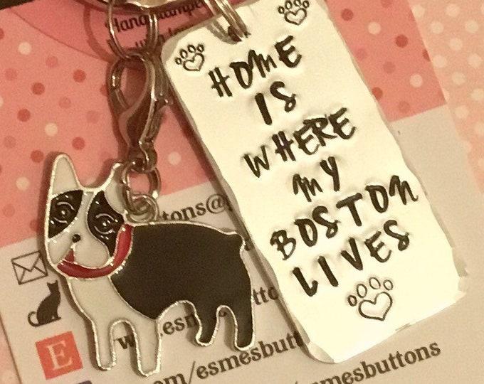 Boston dog keyring, personalised Boston gift, Boston Terrier gift, Hand stamped keyring, dog lover gift, gift for him, gift for her,