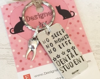 Dental student keyring, dentist student gift, dental hygienist gift, dental gift, handstamped dental gift, for her, for him,