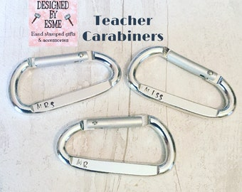 Personalised carabiner clip, carabiner clip, Teacher gift, Hand Stamped by me, gift for her, gift for him, UK seller,