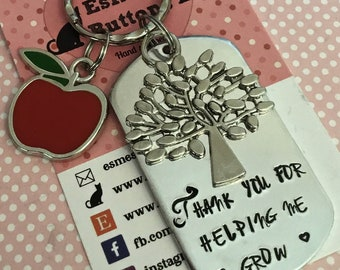 Teacher keyring, teacher gift, TA gift, End of year gift, Hand stamped, Thank you gift, Gift for Her, Gift for him,