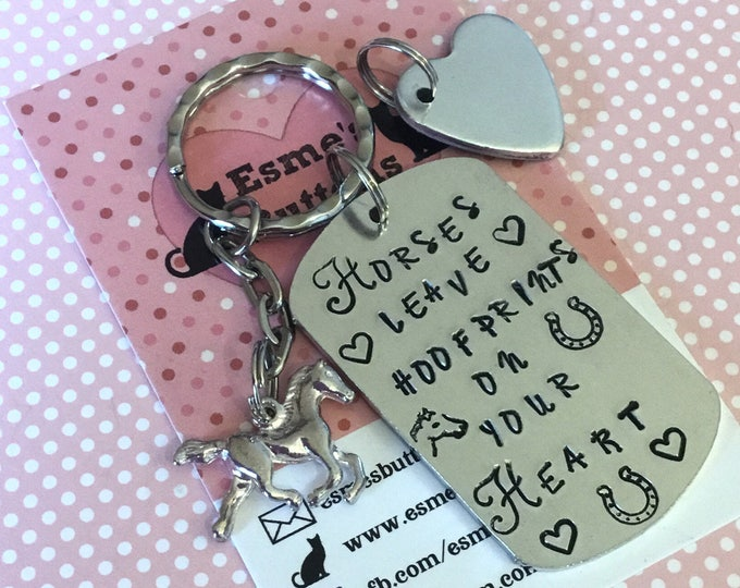 Horse Bereavement gift, Horse gift, remembrance, Horses leave hoofprints on your heart, Hand Stamped, Key chain, Horse Lover, for her, for h