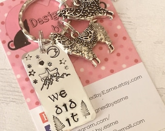 Llama keyring, we did it, llama couple gift, Hand stamped, Key chain, UK seller, Gift for him, Gift for her,