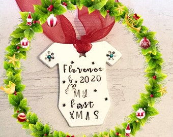 2020 baby, first Christmas, personalised gift, handstamped, tree ornament, Christmas stamps, Santa hat, snowflakes, Swarovski,