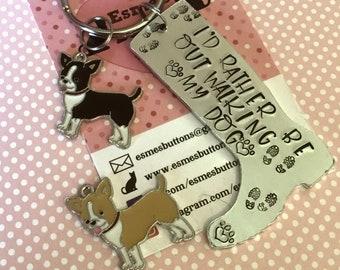 Chihuahua dog keyring, Chihuahua walker keychain, chihuahua keyring, walking my dog, wellie boot keyring, Hand Stamped Key Ring, Chihuahua