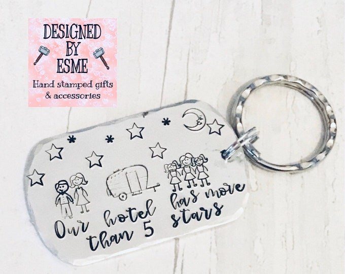 Featured listing image: 5 star hotel Caravan keyring, camping keyring, family gift, family caravan holiday, camping gift, husband gift, wife gift, hand stamped,