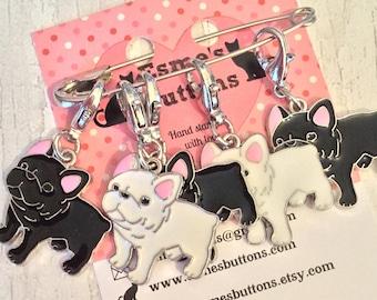 French Bulldog dog stitch markers, Frenchie knitters,  Frenchie crocheters, stitch markers, gift for a knitter, gift for a crocheter