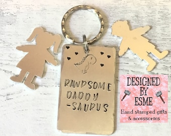 "Daddysaurus Fathers Day Keyring gift, Hand Stamped, ""RAWRSOME DADDYSAURUS"", Gift for daddy, new dad,"