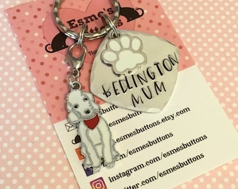 Bedlington dog gift, Fathers day gift, Mother's day gift, Hand Stamped Key Ring, dog lover gift, gift for him, gift for her,