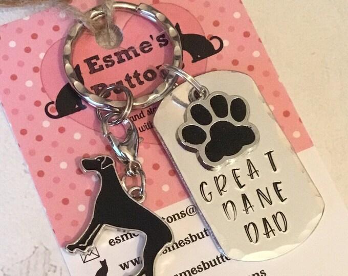 Great Dane Dad dog keyring, Fathers day gift , Great Dane keyring gift, Great Dane Key Ring, mothers day, handstamped  keyring, dog gift,