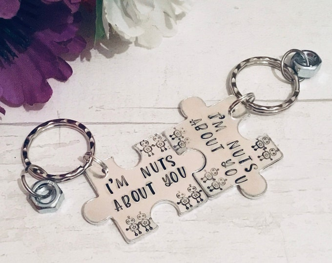 Featured listing image: Im nuts about you Valentines gift,interlocking Keyrings, Robot gift, robot keyring, robot keychain, nuts about you, for them, couple gift,