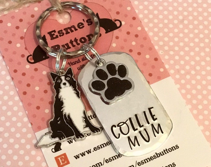 Border Collie dad dog keyring gift, Border Collie mum, Collie keyring gift, Collie Key Ring, handstamped  keyring, Fathers Day gift,