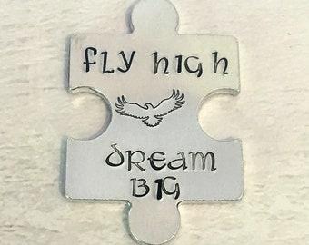 Fly high dream big  hug token,graduation gift, Eagle keyring, Soar like an Eagle, eagle gift, Hand stamped, Key chain,