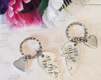 You fill up my heart couples Valentines gift,interlocking heart Keyrings, for them, couple gift, Handstamped gift