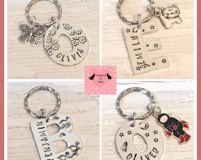 School bag initial letter keyring, book bag name tag gift, personalised name tag, lunch box name tag, alphabet tag, handstamped,