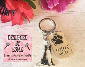 Border Collie dad dog keyring gift, Border Collie mum, Collie keyring gift, Collie Key Ring, handstamped  keyring, Fathers Day gift,