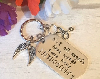 Angel Nurse key ring, nurse gift, vet nurse gift, Hand Stamped, gift for a nurse, gift for her, gift for him, angel gift,