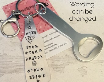 Fathers Day beer bottle keychain gift, gift from the reason you drink, hand stamped gift for him, personalised gift, teacher gift,