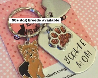 Yorkie Dad dog keyring gift, Yorkie Mom, Fathers Day gift, Hand Stamped, Key Ring, dog lover gift, gift for him, gift for her,