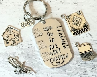 Teacher retirement gift, teacher gift, the next chapter, Hand stamped, Thank you gift, Gift for Her, Gift for him,