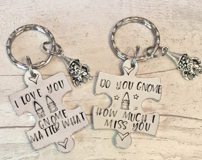Gnome Keyring,I love you Gnome matter what, do you gnome how much I miss you, lockdown, Hand Stamped, Valentine's gift,