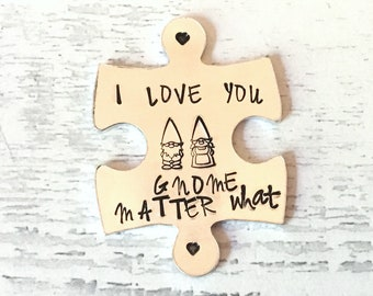 Virtual Gnome hug token,I love you Gnome matter what, lockdown, Hand Stamped, friends apart, separated couples, I miss you,