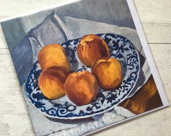 Peaches, artist card, marktheartist, still life, for her, for him, old master,bowl of fruit ,Norfolk artist