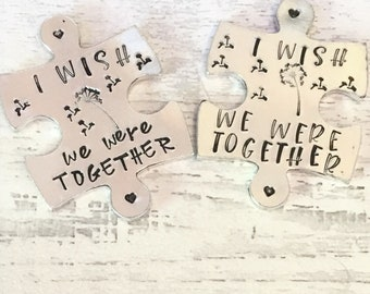 Virtual hug token,I wish we were together, dandelion wishes, lockdown, Hand Stamped, friends apart, separated couples,