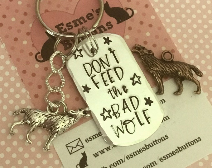 Affirmation wolf gift, Cherokee story, Hand stamped, Key chain, UK seller, Gift for him, Gift for her, unisex, support,