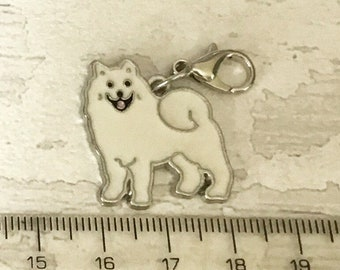 Samoyed charm, add on, zip pull, stitch marker, samoyed gift, dog charms