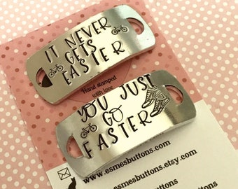 Cycle shoe tags for trainers, its just a hill, it never gets easier,lace plates, cyclist gift, Hand stamped, for her, for him,