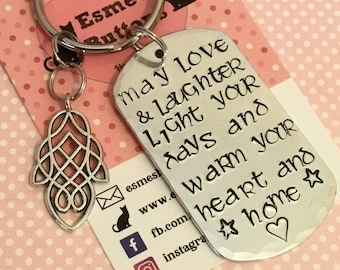 Celtic Gift, new house gift, new house keyring, Hand stamped, Key Ring, Gift for Her, Gift for him, celtic keyring gift, family gift