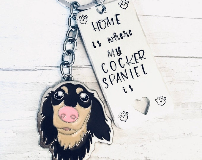 Cocker Spaniel dog keyring,home is where my dog is, keyring, dog owner gift, doggy gift, Hand Stamped Key Ring