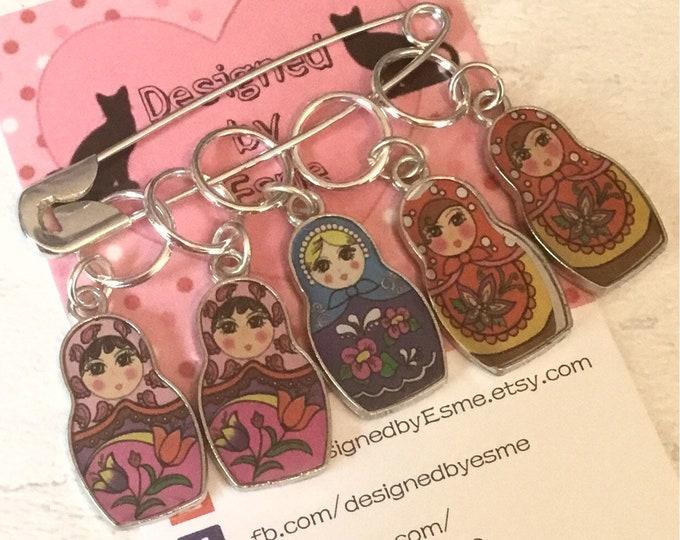 Russian doll stitch markers, matryoshkas, knitters stitch markers,Stitch markers, gift for a knitter, knitting gift, crochet gift,
